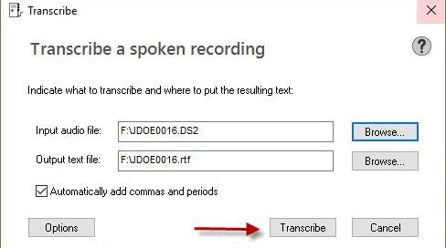 Dragon transcribe recording window