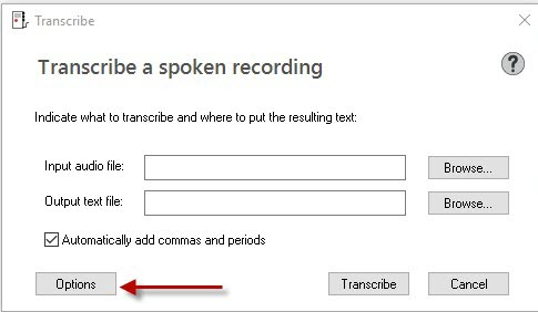 Dragon transcribe window options button