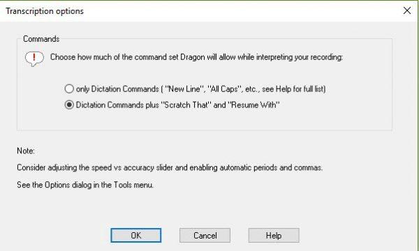 Dragon transcription options window