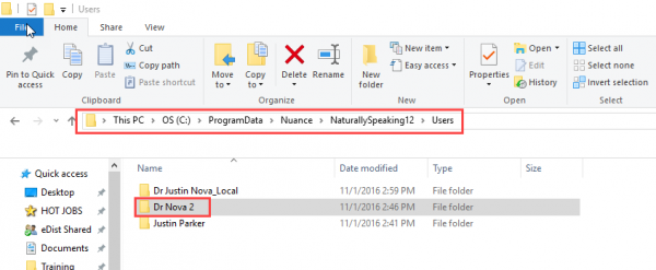 Windows file explorer - new Dragon profile