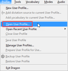 DragonBar profile menu - open user profile