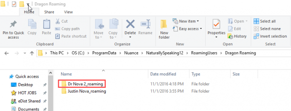 Windows file explorer - new Dragon roaming profile