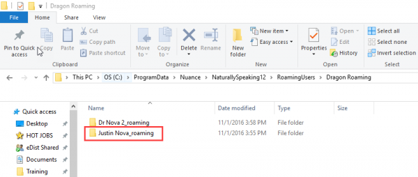 Windows file explorer - roaming profiles