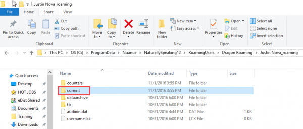 Windows file explorer - inside roaming profiles