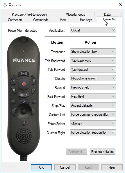 Dragon Professional Group v14 - PowerMic II options menu