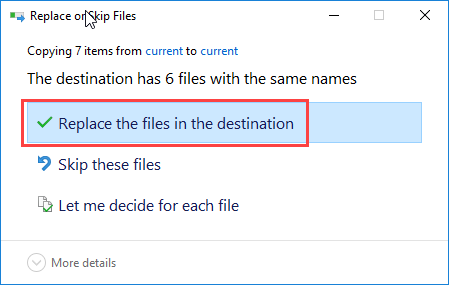 Windows replace or skip files prompt